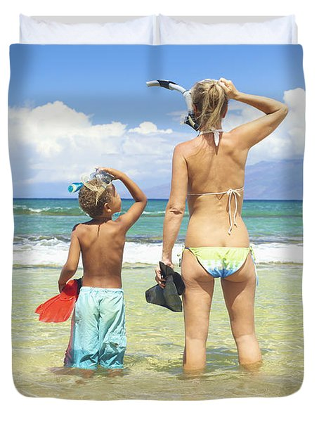 Mother Son Snorkel Duvet Cover by Kicka Witte