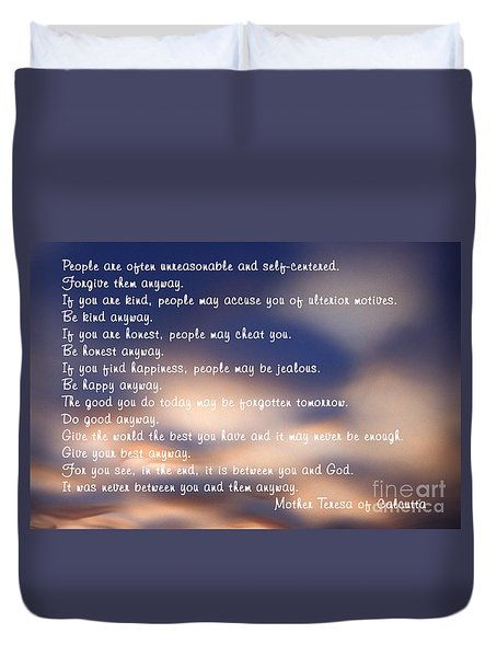Mother Teresa Of Calcutta Duvet Cover by Sharon Elliott