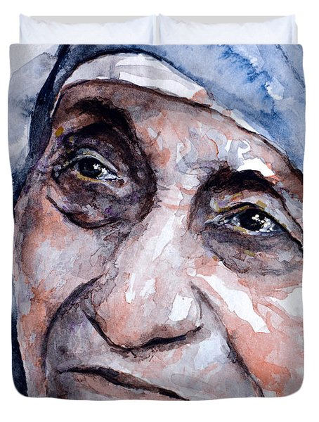 Mother Theresa Watercolor Duvet Cover by Laur Iduc