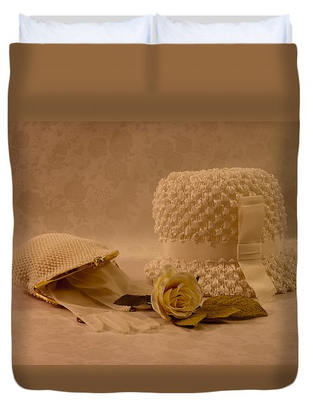 Duvet Cover featuring the photograph Mother's Hat Still Life by Sandra Foster