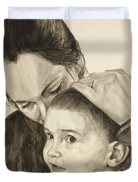 Duvet Cover featuring the painting Mother's Love by Tamir Barkan