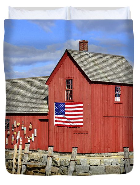 Duvet Cover featuring the photograph Motif In Rockport by Caroline Stella