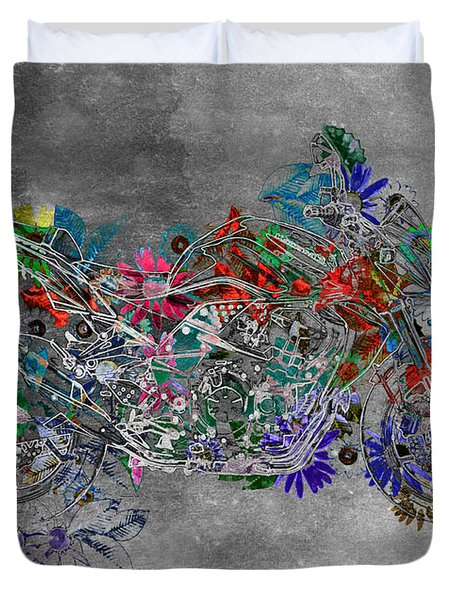Moto Art  Floral Sp01bb Duvet Cover by Variance Collections