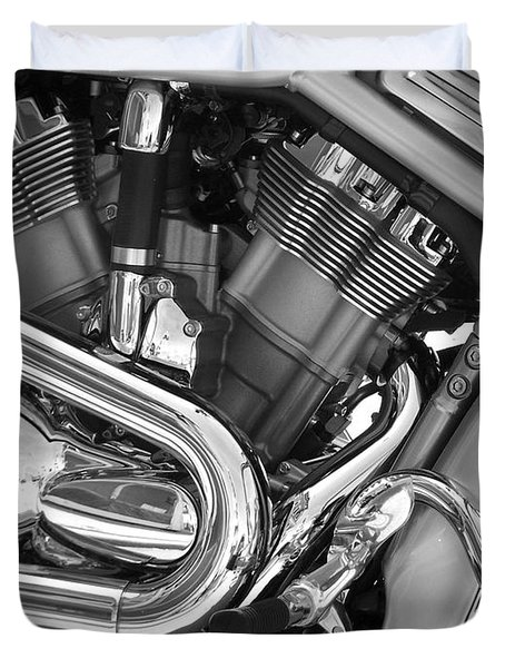 Motorcycle Close-up Bw 1 Duvet Cover