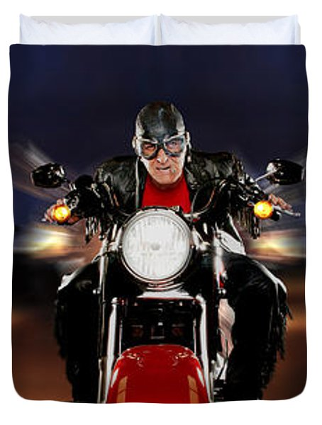 Motorcycle Rider Between Two Semi Trucks Duvet Cover