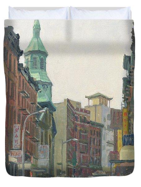 Mott Street, New York, 1997 Oil On Canvas Duvet Cover