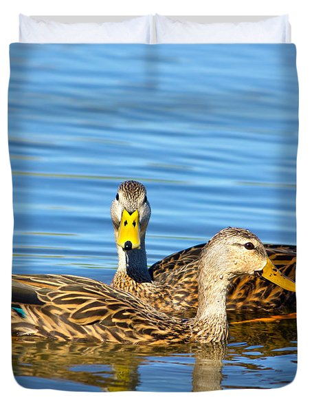 Mottled Ducks Duvet Cover