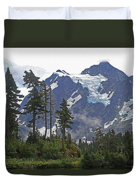 Duvet Cover featuring the photograph Mount Baker And Fir Trees And Glaciers And Fog by Tom Janca
