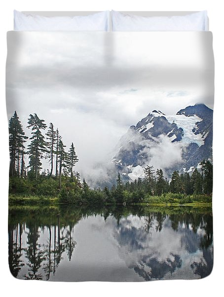 Duvet Cover featuring the photograph Mount Baker- Lake- Fir Trees And  Fog by Tom Janca