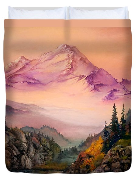 Duvet Cover featuring the painting Mount Baker Morning by Sherry Shipley