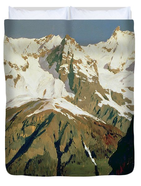 Mount Blanc Mountains Duvet Cover by Isaak Ilyich Levitan