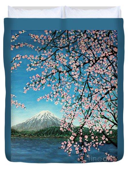 Mount Fuji Cherry Blossoms Duvet Cover by Sheena Kohlmeyer