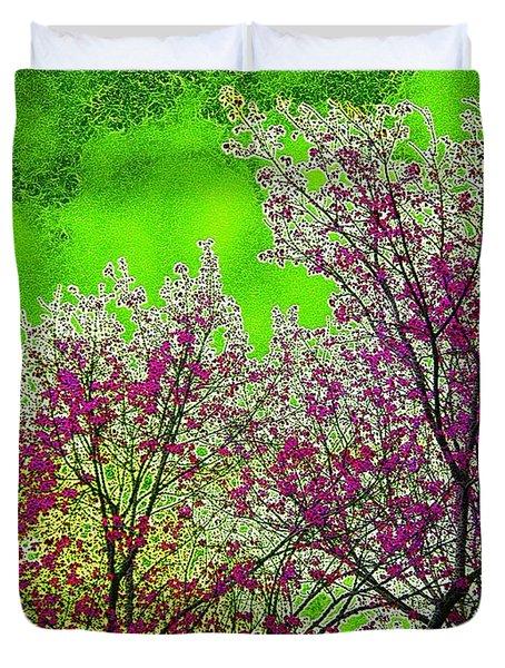 Mount Fuji In Bloom Duvet Cover by Pepita Selles
