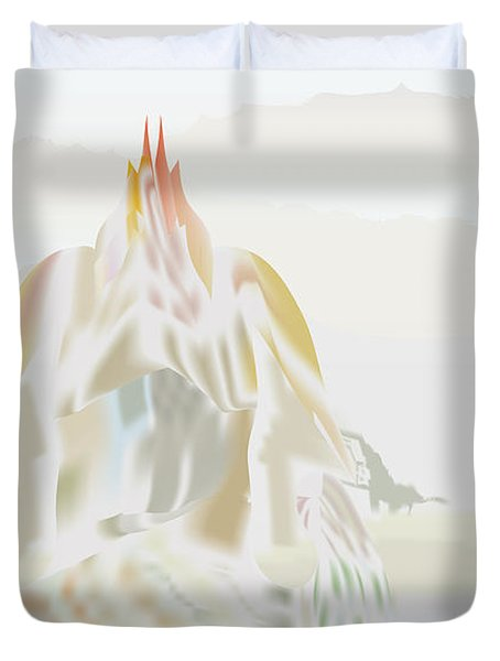 Duvet Cover featuring the digital art Mount Helm by Kevin McLaughlin