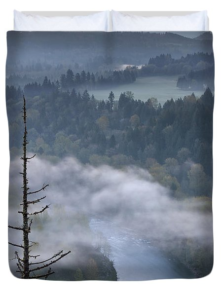 Mount Hood And Sandy River At Sunrise Duvet Cover