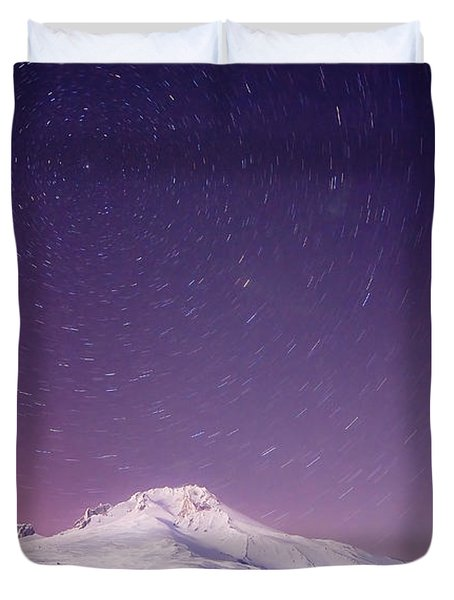 Mount Hood And Stars Duvet Cover