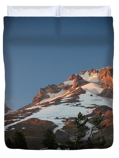 Duvet Cover featuring the photograph Mount Hood Summit In Warm Glow by Karen Lee Ensley