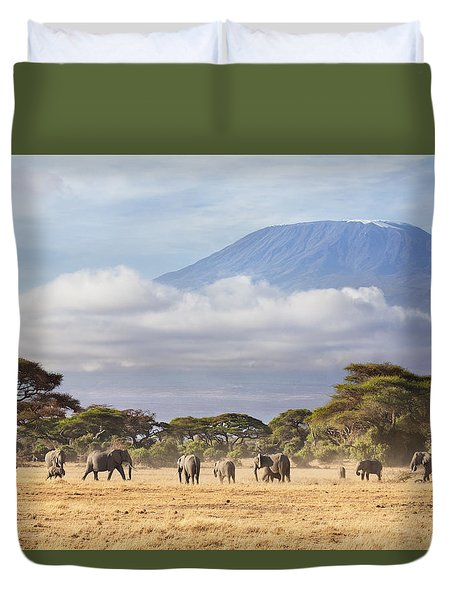 Duvet Cover featuring the photograph Mount Kilimanjaro Amboseli  by Richard Garvey-Williams