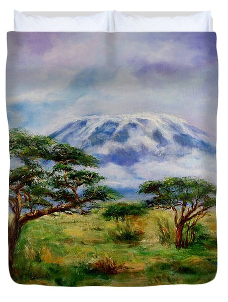 Mount Kilimanjaro Tanzania Duvet Cover by Sher Nasser