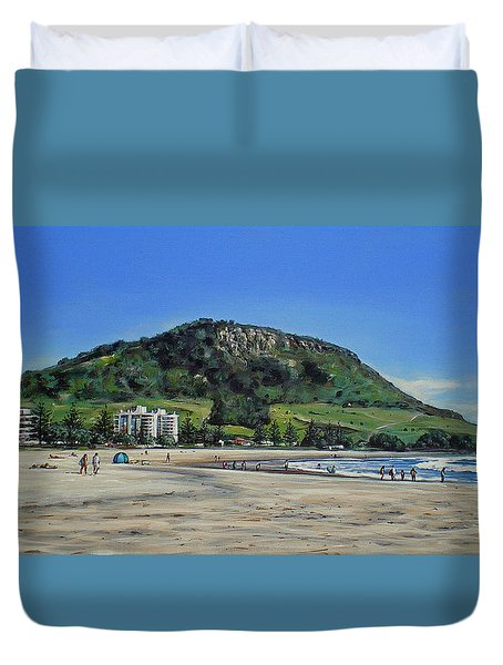 Duvet Cover featuring the painting Mount Maunganui Beach 151209 by Sylvia Kula