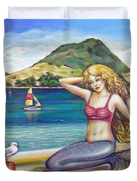 Mount Maunganui Beach Mermaid 160313 Duvet Cover by Selena Boron