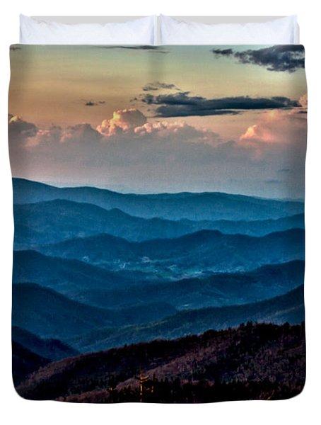 Duvet Cover featuring the photograph Mount Mitchell Sunset by John Haldane