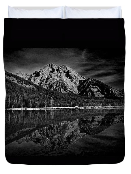 Mount Moran In Black And White Duvet Cover by Raymond Salani III