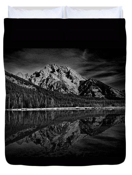 Mount Moran In Black And White Duvet Cover