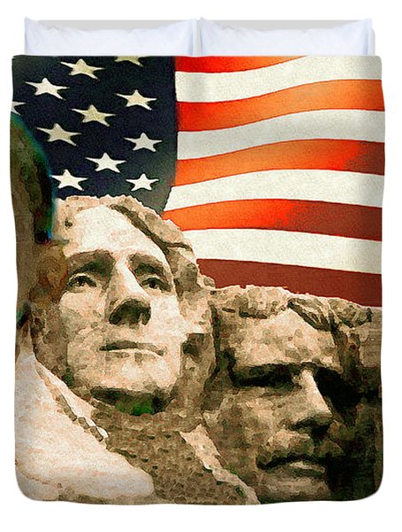 Barack Obama On Mount Rushmore - American Art Poster Duvet Cover