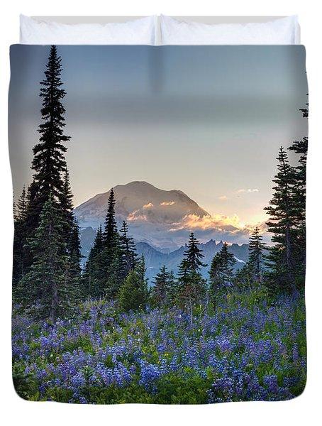 Mount Rainer Flower Fields Duvet Cover