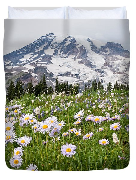 Mount Rainier And A Meadow Of Aster Duvet Cover by Jeff Goulden