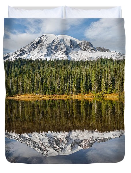 Mount Rainier And Reflection Lakes In The Fall Duvet Cover by Jeff Goulden