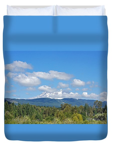 Mount Rainier As Viewed From The West Duvet Cover by Connie Fox