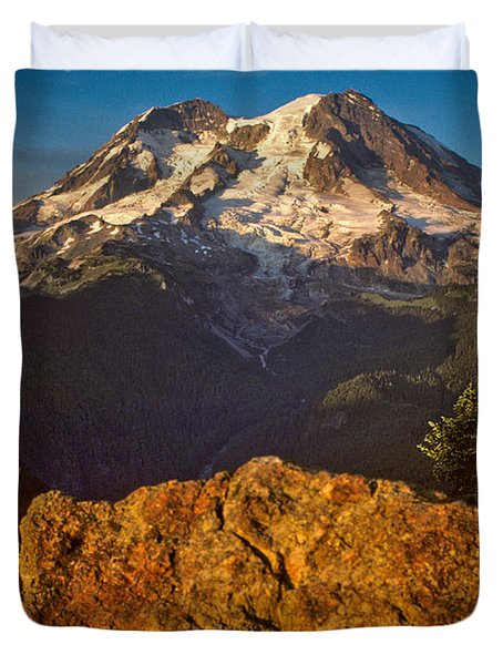Duvet Cover featuring the photograph Mount Rainier At Sunset With Big Boulders In Foreground by Jeff Goulden