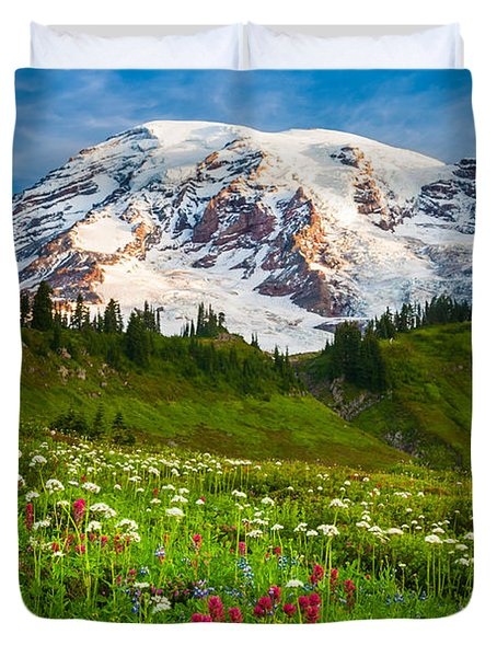 Mount Rainier Flower Meadow Duvet Cover by Inge Johnsson