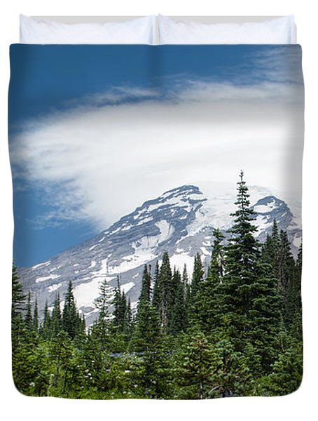 Mount Rainier Forest Duvet Cover