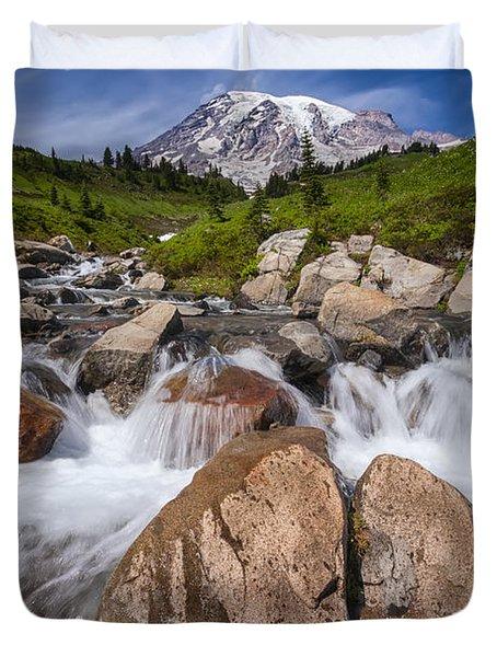 Mount Rainier Glacial Flow Duvet Cover by Adam Romanowicz