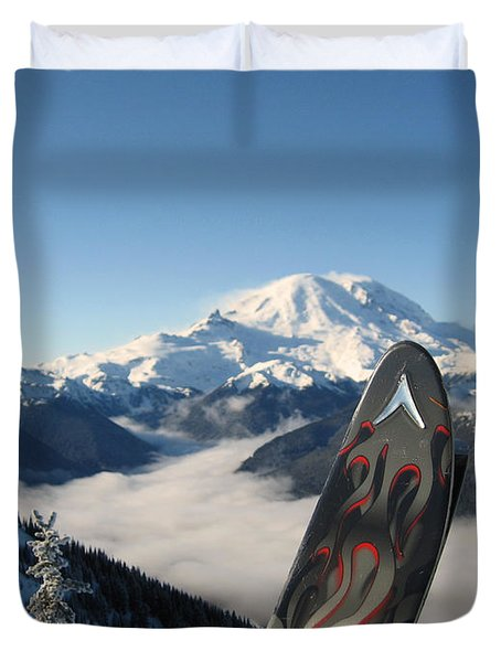 Mount Rainier Has Skis Duvet Cover