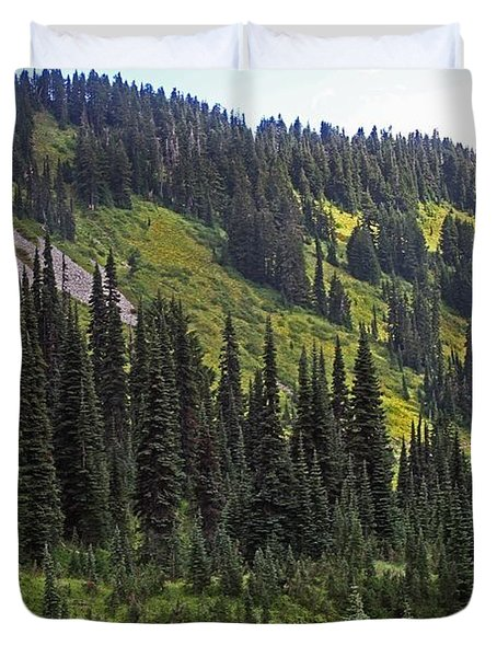 Duvet Cover featuring the photograph Mount Rainier Ridges And Fir Trees.. by Tom Janca