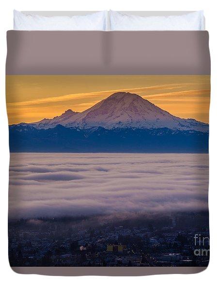 Mount Rainier Sunrise Mood Duvet Cover by Mike Reid