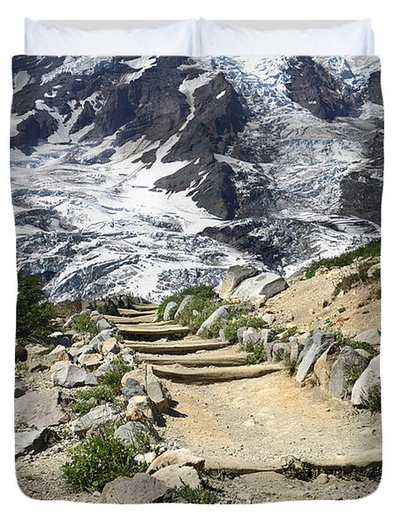 Mount Rainier Trail Duvet Cover