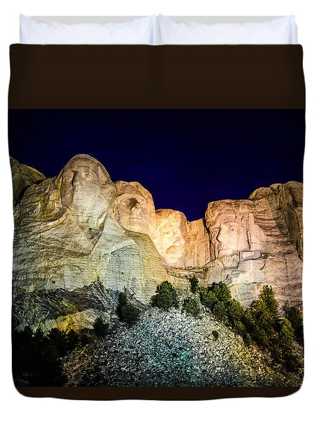 Duvet Cover featuring the photograph Mount Rushmore At Night by Penny Lisowski