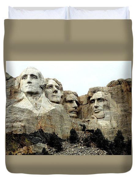 Mount Rushmore Presidents Duvet Cover by Clarice  Lakota