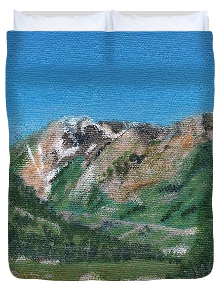 Duvet Cover featuring the painting Mount Superior by Linda Feinberg
