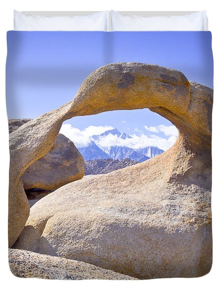 Mount Whitney Framed By The Mobius Arch Duvet Cover by Priya Ghose