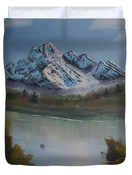 Duvet Cover featuring the painting Mountain And River by Ian Donley