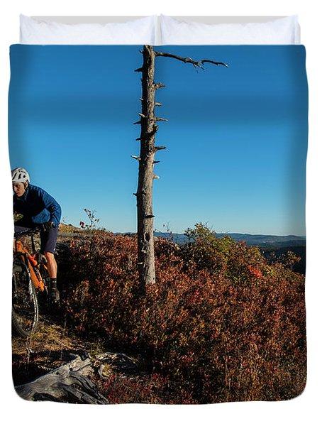 Mountain Biker On The Bare Granite Duvet Cover