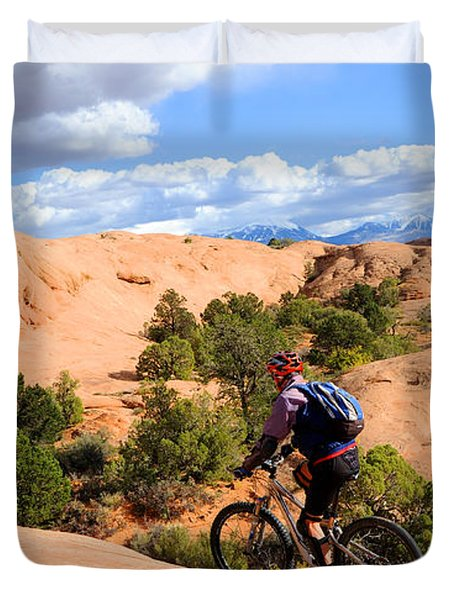 Mountain Biking Moab Slickrock Trail - Utah Duvet Cover by Gary Whitton