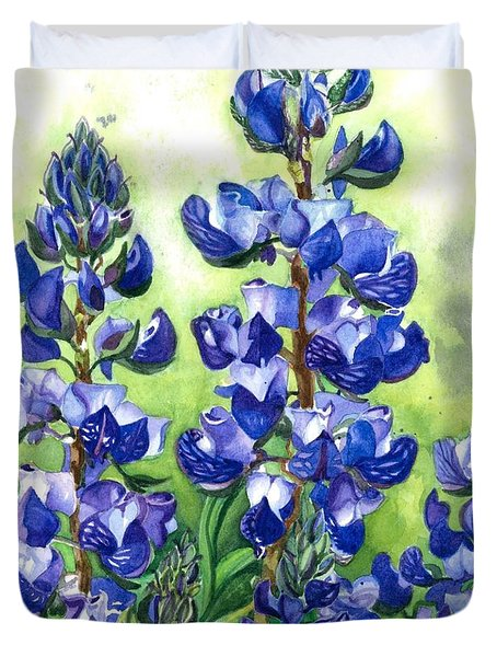 Duvet Cover featuring the painting Mountain Blues Lupine Study by Barbara Jewell