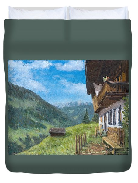 Mountain Farm In Austria Duvet Cover by Marco Busoni